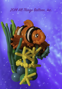 balloon decorator - balloon clown fish decor piece
