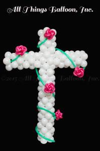 balloon decorator - balloon column -Cross with Roses