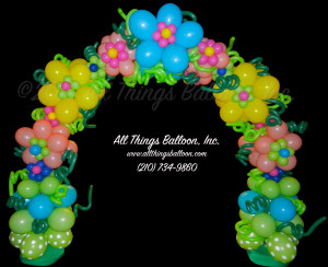 balloon decor; amazingly detailed balloon flower arch