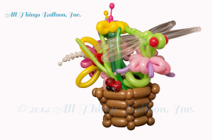 balloon decor - balloon centerpiece with balloon dragon fly and lady bug