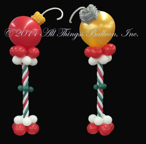 balloon decor - Christmas Columns with huge Christmas ornaments as toppers