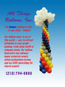 balloon decor: balloon column with balloon clouds as topper
