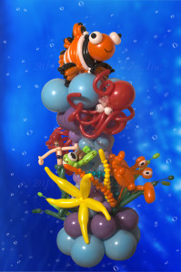 balloon decorator: under the sea column with fish, crab, turtle octopus and mermaid