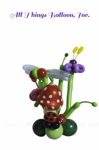 balloon decor - balloon centerpiece with balloon mushroom, dragon fly and lady bug