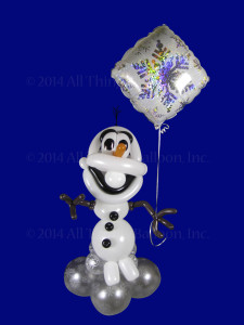 balloon decor - balloon snowman with helium-filled foil