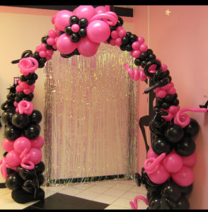 balloon decor - balloon arch pink and black