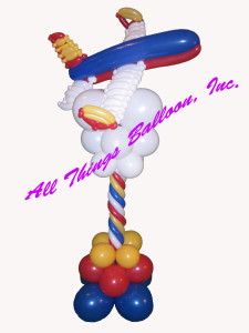 balloon decor - balloon column with balloon passenger jet and balloon clouds