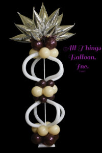 balloon decor; balloon column; silver tapers