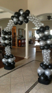 balloon arch - black and silver