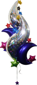 balloon decorator: balloon curves and stars foil design