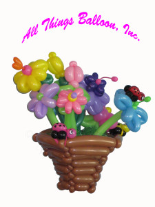 balloon decor - balloon basket with balloon flowers and balloon lady bugs Easter; Valentine's day
