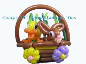 balloon decor - balloon basket with balloon flowers and balloon duck and balloon bunny rabbit; Easter; Valentine's day