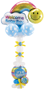 balloon decor: baby shower; Rainbow balloon column
