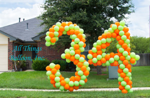 "balloon decor - balloon Lawn numbers; number ""3"" and number ""4"""