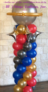 balloon decor - balloon column in Space/Star Trek theme